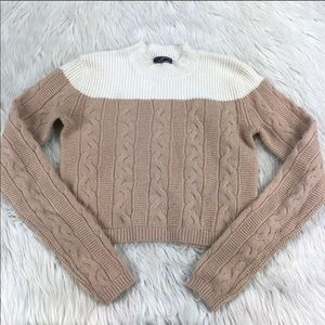 Club Monaco cropped cable knit sweater, S